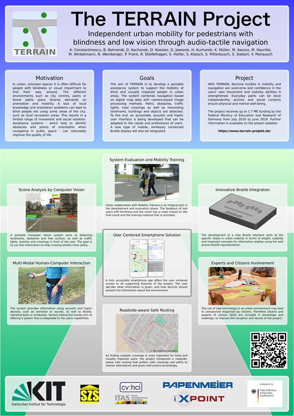 Image of poster: The TERRAIN Project  Independent urban mobility for pedestrians with blindness and low vision through audio-tactile navigation